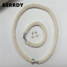 Gorąca prawdziwa perła słodkowodna biżuteria zestaw moda naszyjnik bransoletka zestaw kolczyków dla pięknych zestaw biżuterii ślubnej panny młodej tanie tanio Zestawy biżuterii BERRDY Naszyjnik bransoletka TRENDY Ślub Pearl Perły słodkowodne Kobiety SILVER FAIRY Zhejiang China (Mainland)