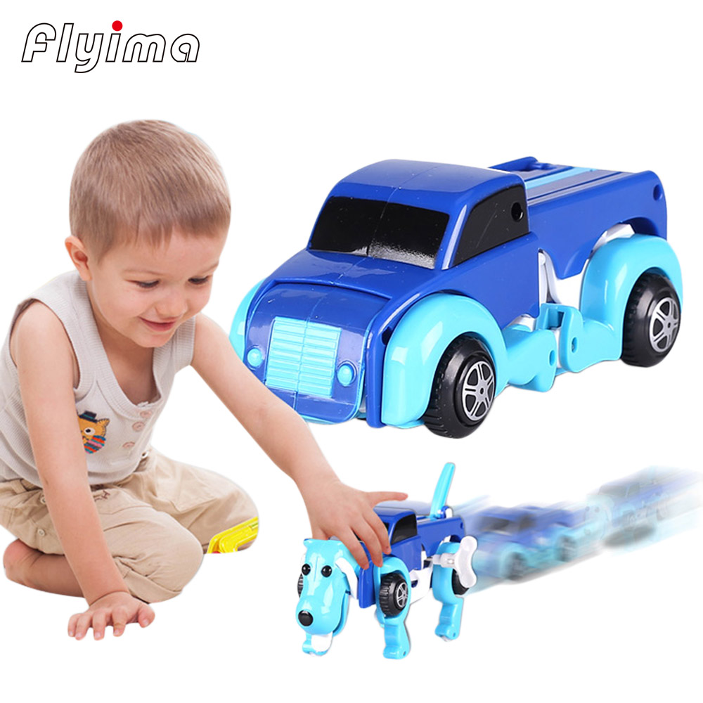 Wind Up toys for children deformation imaginext Dinosaur Automatic transform Dog Car Vehicle Clockwork kids toy 14CM