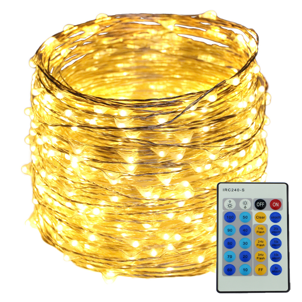 Corded Remote Control 50M 500LED Dimmable Fairy String Lights, Holiday Decor Silver Wire Starry Rope Light Christmas Party Light