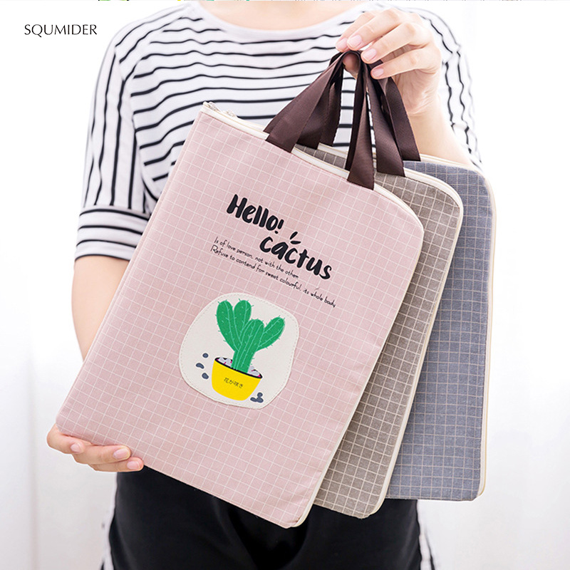Creative Hand File Bag Canvas Simple Design Style Zipper Pencil Bags Girls Handbag Students Stationery Holder File Bag Data Bag