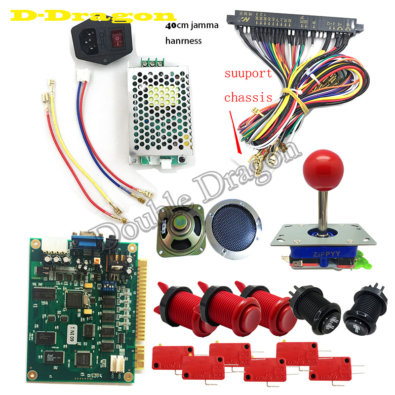 Classical JAMMA Arcade 60 in 1 Game DIY kit with power supply,speaker,arcade joystick,American push button,40cm jamma wireClassical JAMMA Arcade 60 in 1 Game DIY kit with power supply,speaker,arcade joystick,American push button,40cm jamma wire