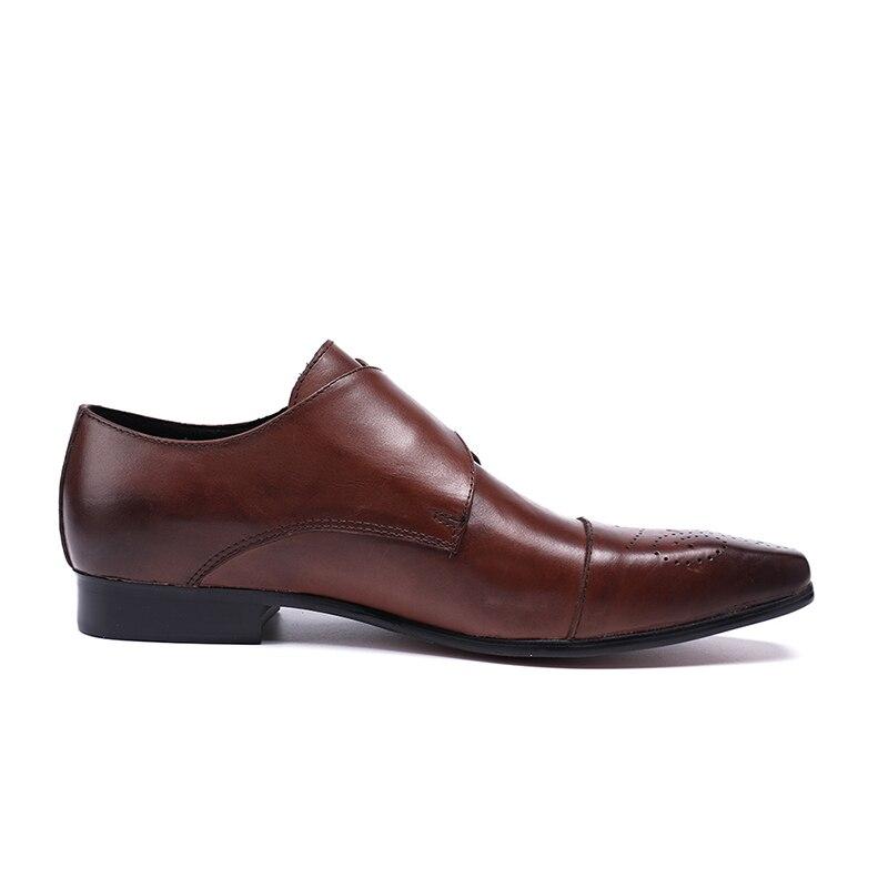 534bdc1b32 Boda De Correas Genuino Cuero Negro Vivodsicco marrón Casual Hebilla Vestido  Negro Lujo Zapatos Brogues Formal Hombres Hombre Monje Unxx7HRfO