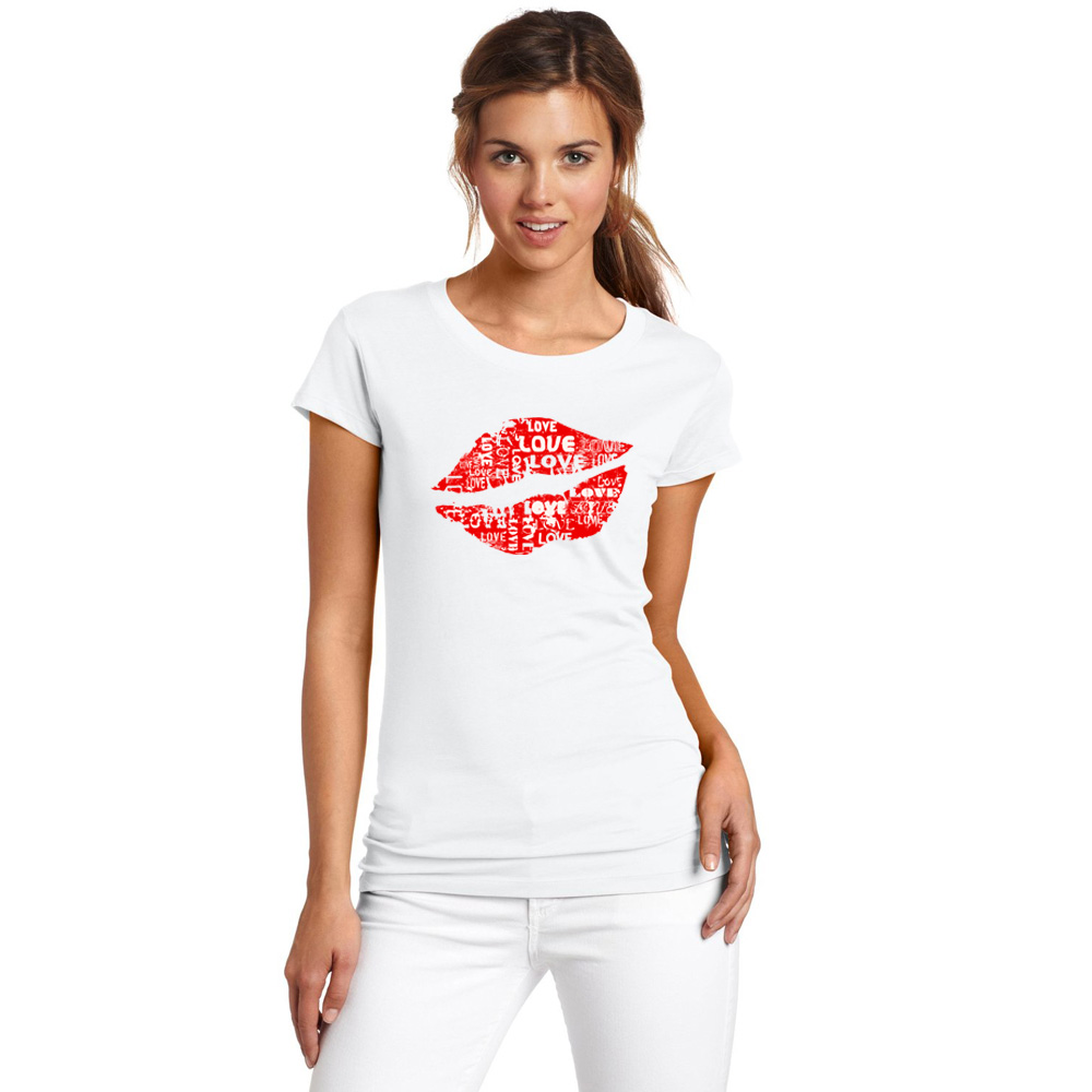 Super Red Lips T Shirt Women Summer Cool White T-Shirt Good Quality Comfortable Cotton Tops