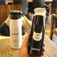 JOUDOO Cute Cartoon Cat Thermos Bottle Black White Stainless Steel 300ML Vacuum Flasks Water Milk Coffee