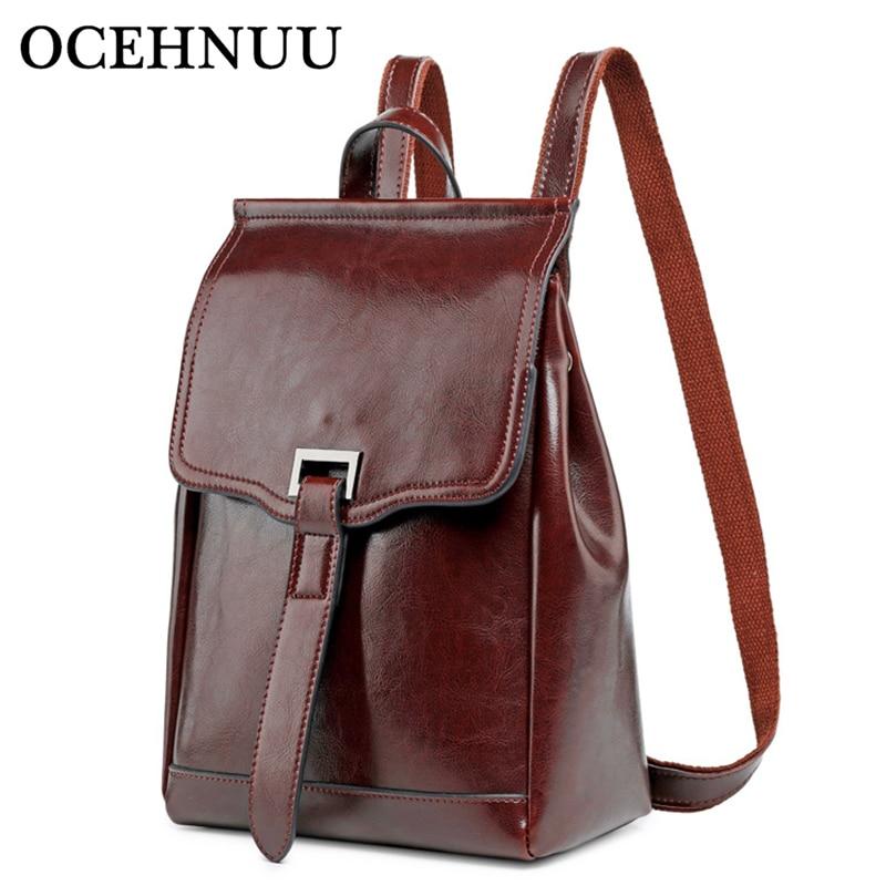 OCEHNUU 2019 Bagpack 女性ショルダーバッグバックパック本革の女性のバックパックスクールバッグ高級ブランドバックパック女性固体  グループ上の スーツケース & バッグ からの バックパック の中 1