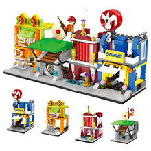 hot city mini Street view series famous Electrical Bow and arrow hall Fried chicken store Building Blocks toys for children gift