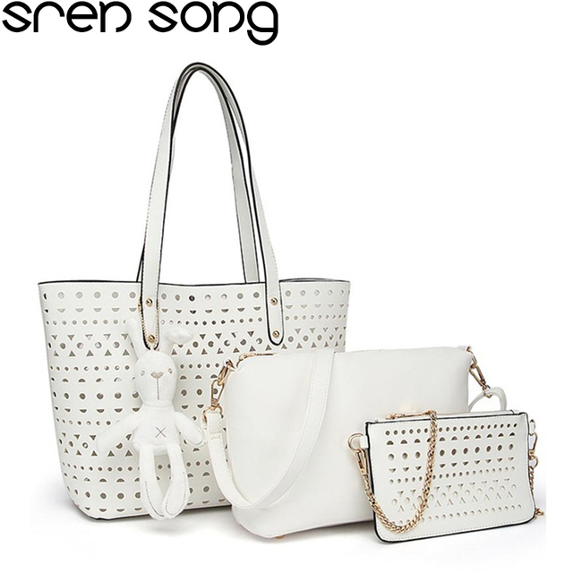 3 sets women handbag hollow out large tote bag shoulder bags with soft pu  leather female cross body bag girls small purse 5157c9032b132