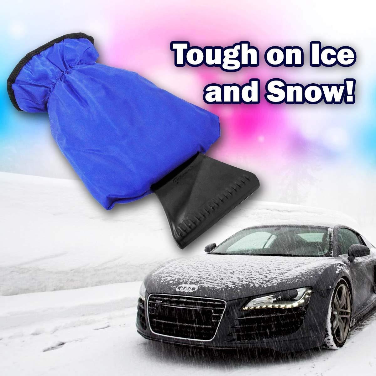 Синий Водонепроницаемый Автомобильный скребок для снега со льдом перчатки из флиса лобовое стекло