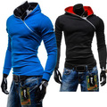 The new diagonal zipper jumper men short slim Hoodie fleece color