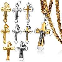 Multicamadas Cruz Cristo Jesus Pingente de Aço de titânio Colar de Aço Ouro Elo Da Cadeia Bizantino Pesado Homens Jóias Presente de Natal