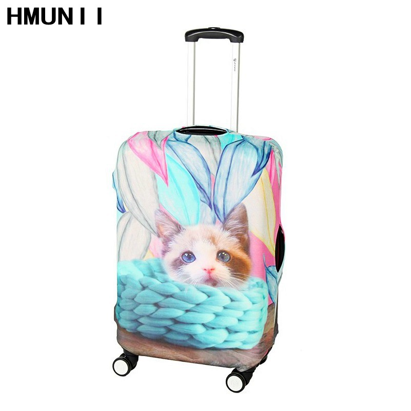 HMUNII 2017 Fashion Cute Cat Print Elastic Trolley Luggage Protective Covers Clear Luggage Covers Suitcase Protective Cover