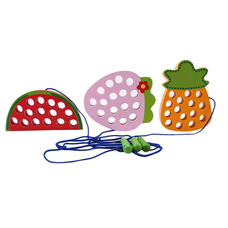 2019 New Style Funny Baby Fruit Lacing Threading Wooden Puzzle Toy Watermelon/pineapple Children Kids Intelligence Development Toys Puzzles Puzzles & Games