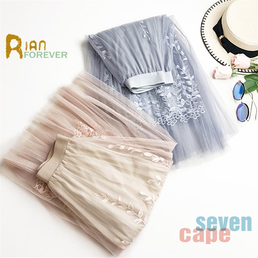 2018 New Fashion Pleated Mesh Skirt Heavy Embroidery Skirt Embroidered Mesh Long Skirt