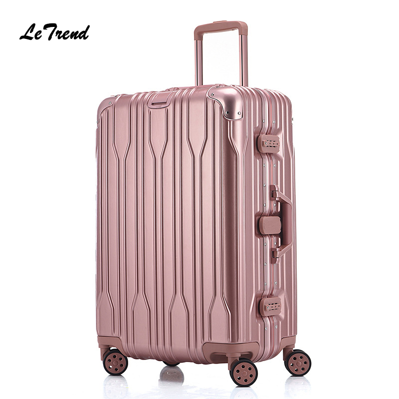 Letrend Fashion 29 Inch Aluminium Frame Rolling Luggage Universal wheel Trolley Box 20Boarding Suitcase Women Travel Bag Trunk