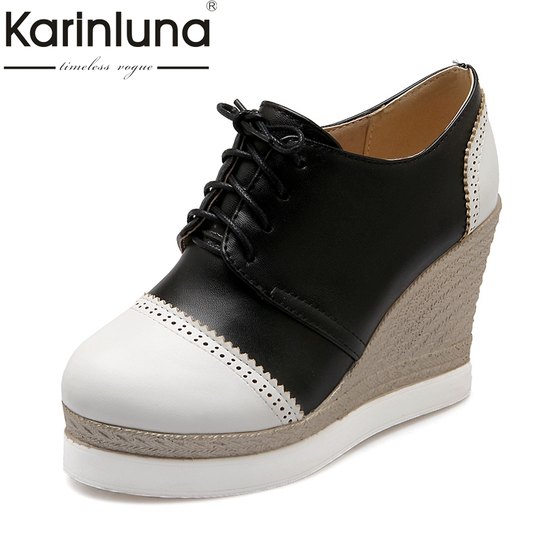 KarinLuna High Quality Wedge High Heel Shoes Pumps Woman Black White Lace Up Round Toe Platform Pumps Wedding Shoes Women nayiduyun women casual shoes low top platform wedge high heels boots round toe slip on pumps punk chic shoes black white sneaker