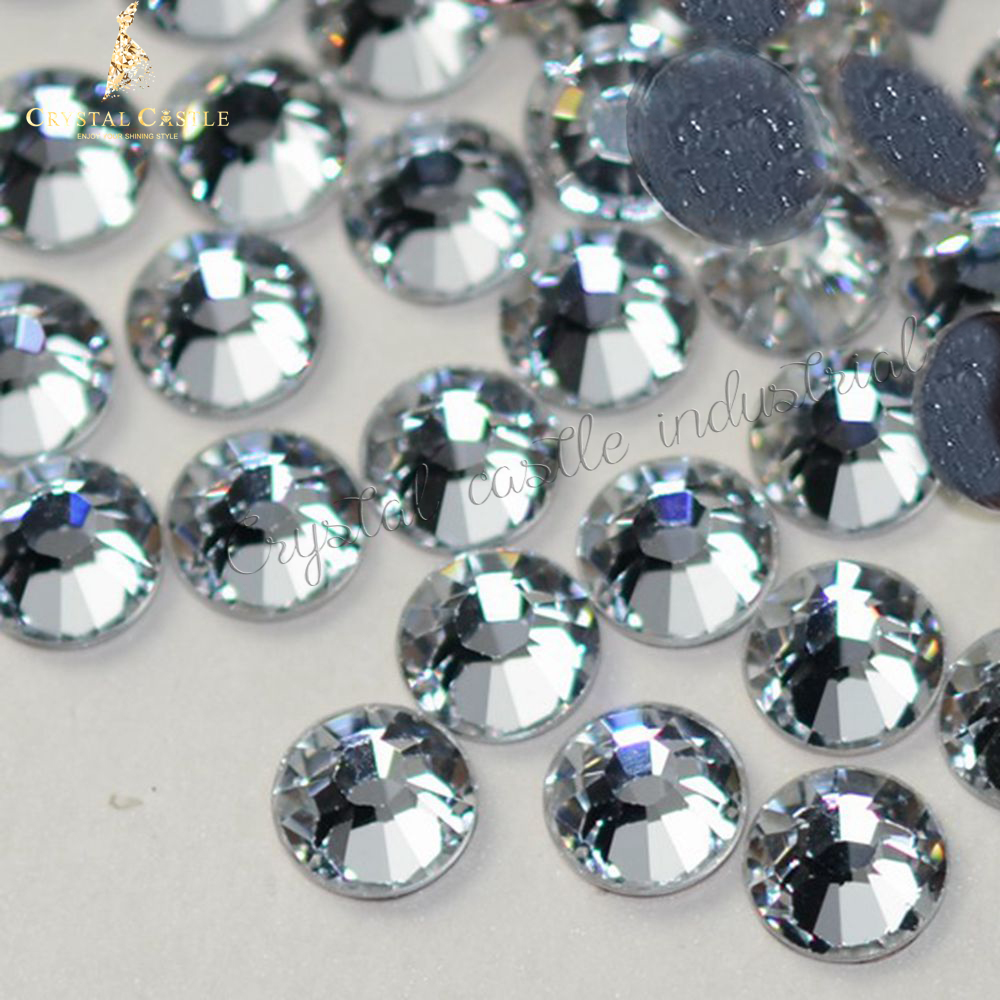 Crystal Castle Glass Rhinestone Glue No.1 5A SS3-SS40 2038HF Strass Hotfix Clear Stones and Nail Rhinestones For Clothes