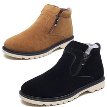 2017 mens fashion warm plush winter fur shoes cow suede leather flats platform ankle boots cotton-padded homme zapatosmens