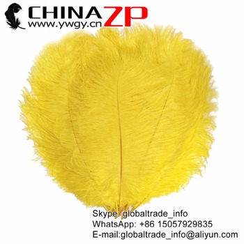 CHINAZP Factory 50pcs/lot 45~50cm(18~20inch) Length Yellow Colored Ostrich Wing Feathers Decorations