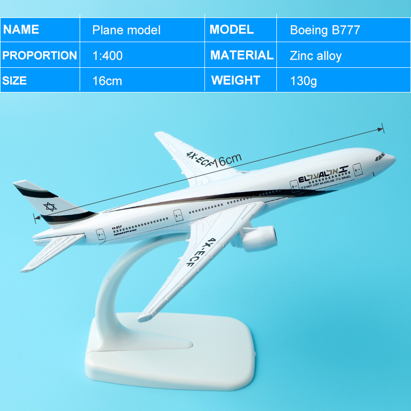 1 pc 16 cm Alliage Métal Air El Al Israel Airlines Boeing 777 B777 Airways Modèle D'avion Avion Modèle W stand Avions Cadeau