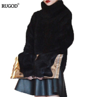 RUGOD Women Sweaters And Pullovers Plus Size Long Sleeve Cashmere SSweater Turtleneck Warm Women Sweater Turtleneck