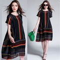New2016 Summer Women colorful stripe Cotton Linen loose Dress twinset elegant dress linen dress+sleeveless tank dress XXXXL 6171