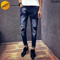 New 2017 Spring autumn Solid Slim Ripped Hole Patch Distressed gradient teenager hip Hop Pants Denim overalls men Biker jeans