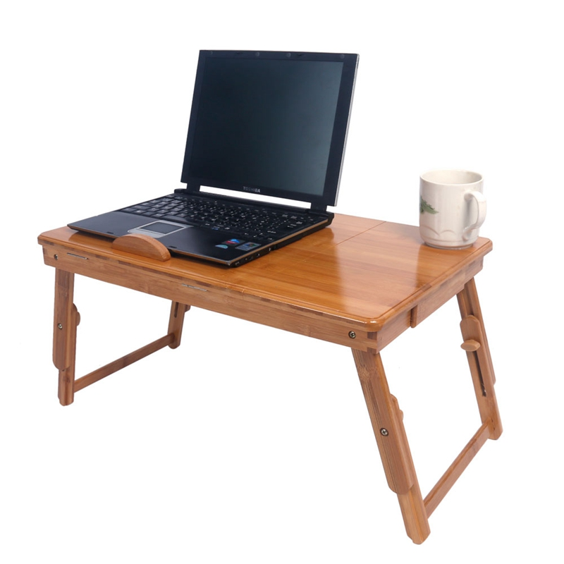 US 53cm Hollowed-out Pattern Adjustable Computer Desk With Drawer & Cup Stand Dropshipping