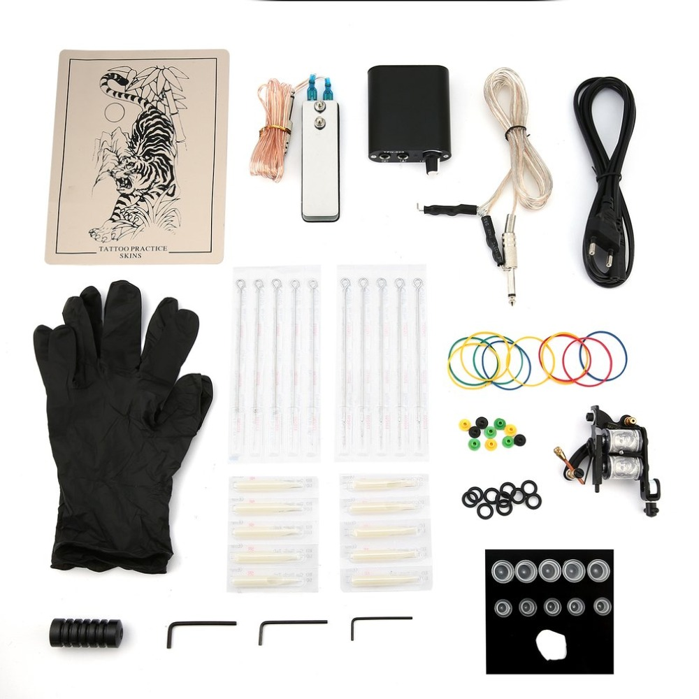 купить Tattoo Complete Beginner Tattoo Kit 1 Pro Machine Guns Inks Power Supply Needle Grips Tips Tatto Accessories Set по цене 751.37 рублей