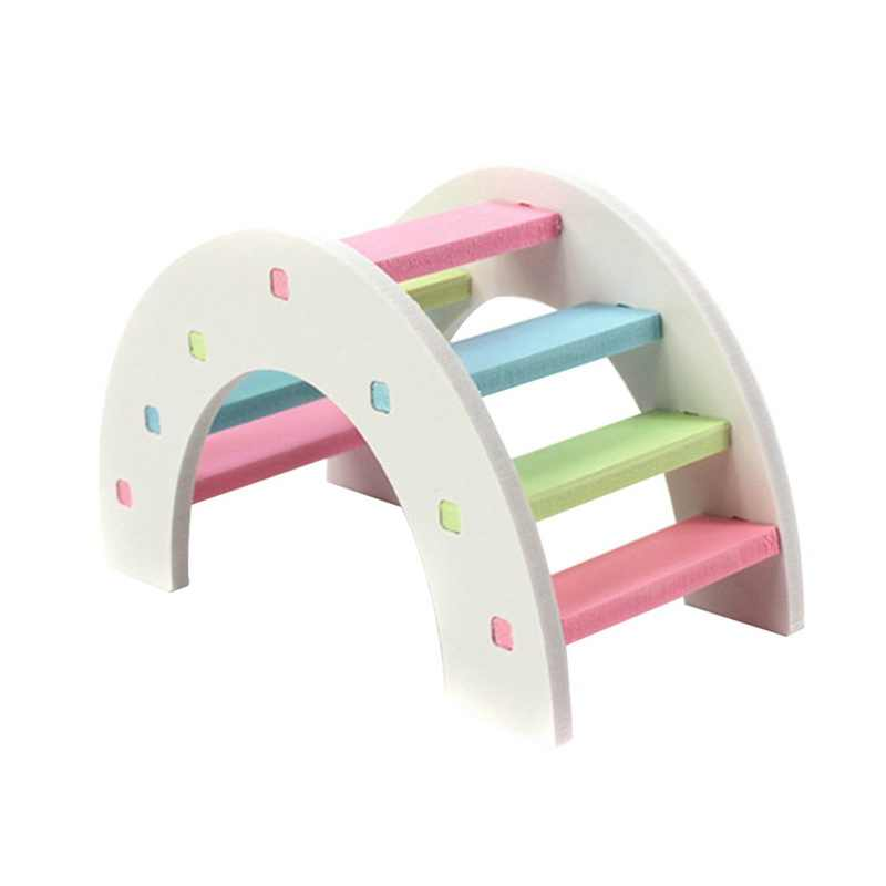Chew Toys Teeth Care Molar Toy for Rabbit Chinchilla Pet Wood Molar Toys For Hamster Colorful Mini Stairs Exercise Pet
