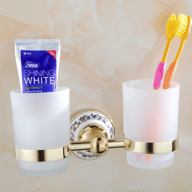 Holders Metal Chrome Silver Toothbrush Holder With 2 Glass Cups Wall Mounted Ceramic Bathroom Accessories ST-6703 image