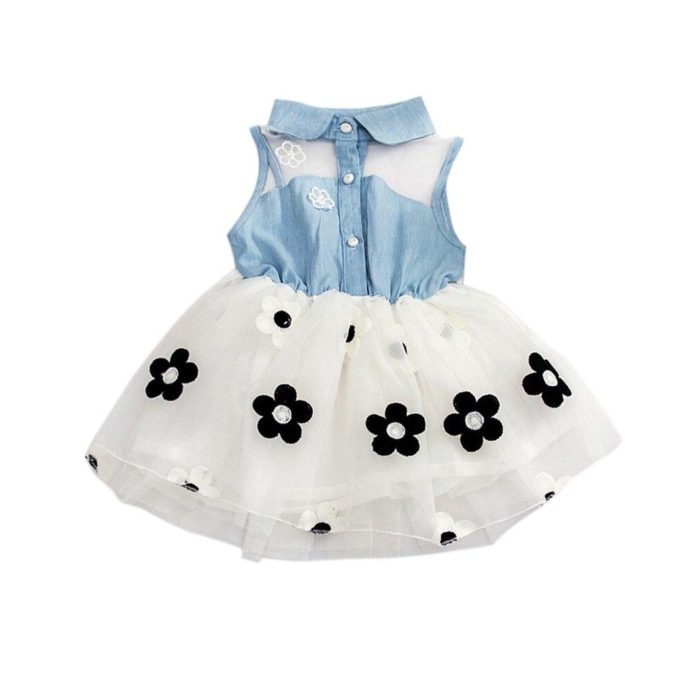 Кружевная джинсовая рубашка одежда для маленьких детей платье-пачка принцессы джинсовая футболка Тюль с цветочным рисунком летняя мягкая пачка принцессы для девочек на день рождения - Цвет: white
