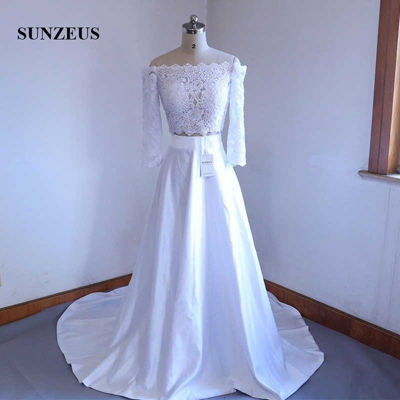 2 Pieces Wedding Dresses 2019 Three Quarter Sleeve Off Shoulder Lace Top Bridal Dress Satin Wedding Gowns nikah elbisesi SW31
