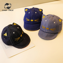 цена на Denim Cartoon Cat Design Baby Hat Baseball Cap Cute Cotton Baby Boys Girls Summer Sun Hat Spring Autumn Peaked Cap