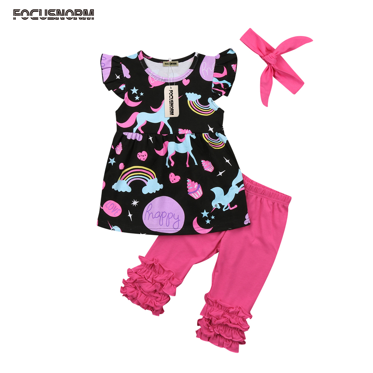 Fashion Toddler Baby Kids Girls Unicorn Flying Sleeves Tops Dress+Ruffle Pants+Headband Outfits Set Clothes 0-5T