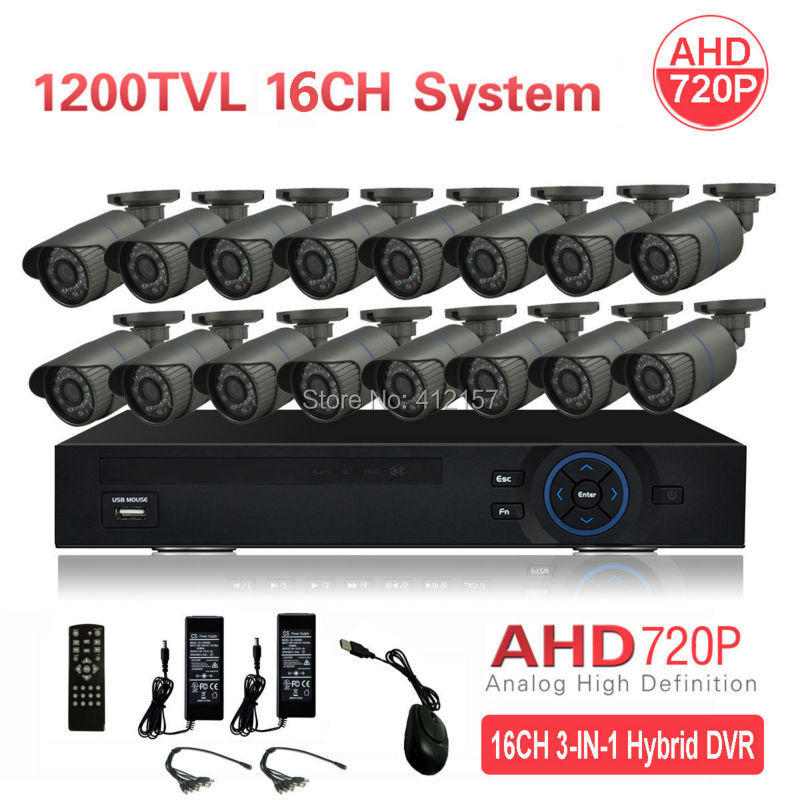 CCTV Outdoor IP66 16CH AHD 720P 1200TVL Security Camera System HDMI 3-IN-1 Hybrid 1080P 3G WIFI DVR HVR NVR IR Surveillance Kit ipanema ipanema ip124awhtx19