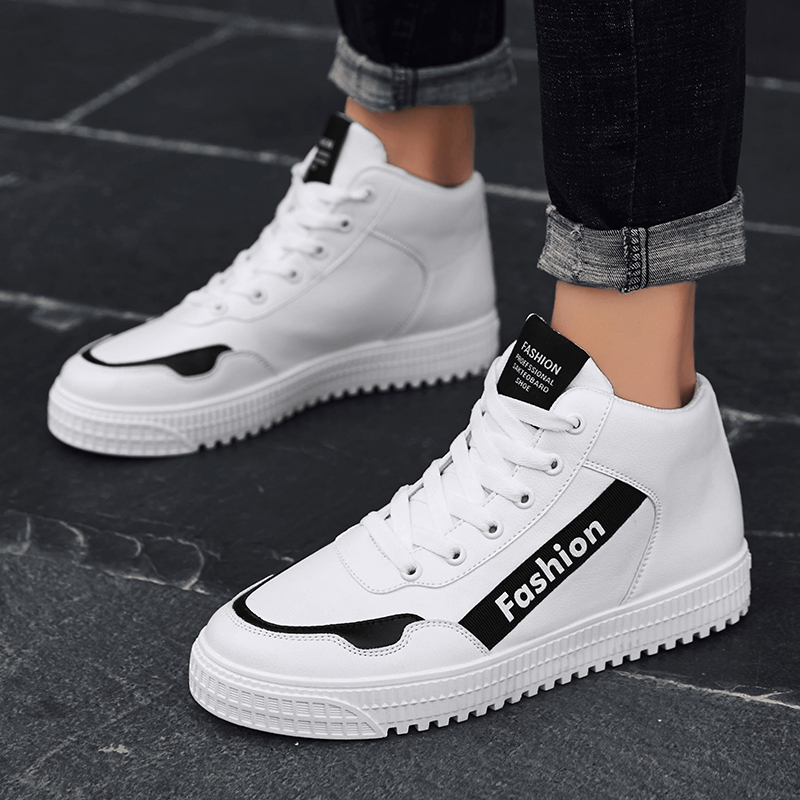 Fraîche Casual white Rouge Hommes Black De Appartements Marche Pour Blanc Jeunesse D'origine Red Mâle Chaussures Top Nouvelle High Confortable black dwqEHd