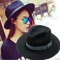 Sombreros de verano Para Mujeres Moda gafas de Sol-sombra Panamá Sombrero de Moda de Verano Sombrero de Paja Trilby Fedora Gran Playa de Arena Negro/Blanco Color