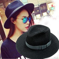 Summer Hats For Women Fashion Sun-shade Panama Hat Summer Fashion Fedora Great Sand Beach Straw Hat Trilby Black / White Color