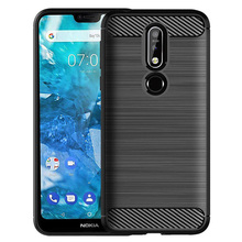 Carbon Fiber Hybrid Brushed Armor Case For Nokia 7.1 Anti Shock Impact Protective Soft TPU Rubber Back Cover For Nokia 7.1 стоимость