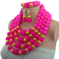 Wonderful Opaque Rose Bridal Beads Indian African Costume Jewelry Set Nigerian Wedding Necklace For Women Free