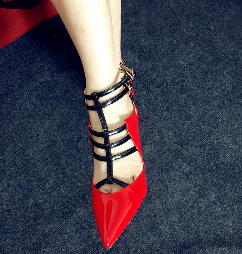 Sexy Cuir En Boucle white Bout Qianruiti Haute Pompes Red Pointu Femmes Cheville Sandales Talons Aiguilles Chaussures sangle T Verni tAEqxzp