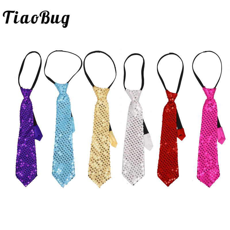 TiaoBug Unisex Shiny Sequin Pre-tied Necktie with Adjustable Zipper Men Women Party Magic Show Circus performance Costume Tie