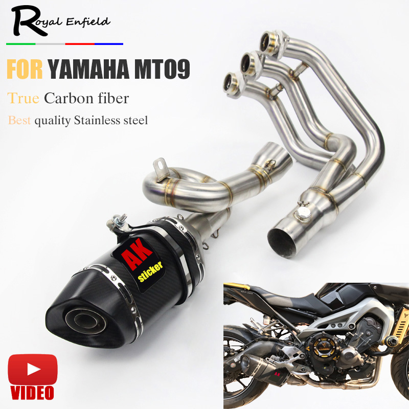 51mm ID MT09 FZ09 Motorcycle Exhaust Muffler Modified Scooter Front Pipe Slip-On Muffler Exhaust For YAMAHA MT-09 FZ09 2014-2017 ...