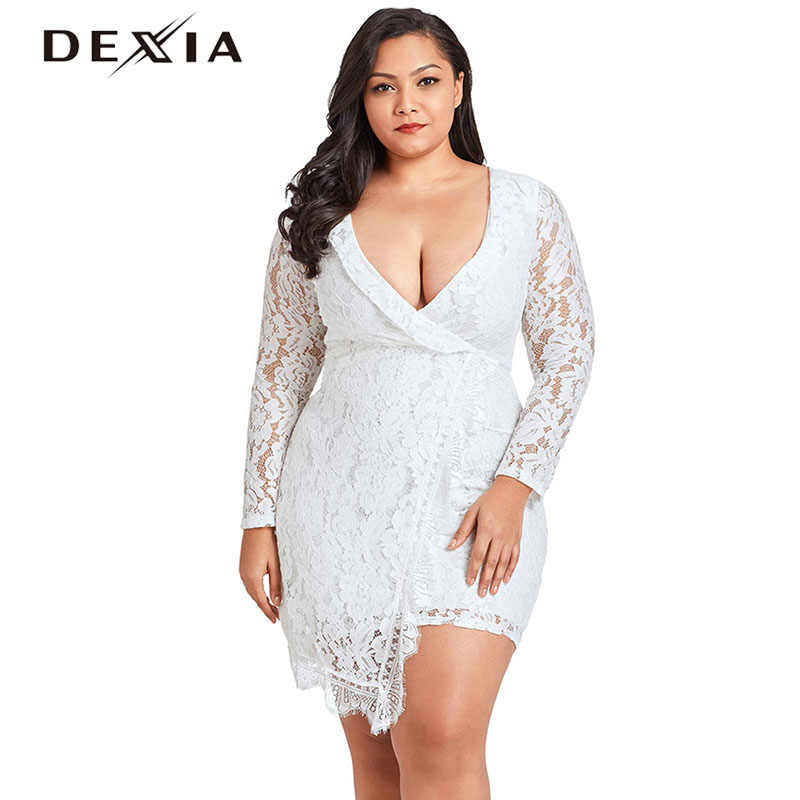 9ba8e612ca2 ... DEXIA Sexy Lace Summer Dress Large Size Women V Neck Long Sleeve Hollow  Out Plus Size ...