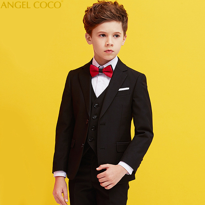 Boys Suits For Weddings Kids Prom Suits Black Wedding Suits Kids Tuexdo Big Children Clothing Boy Formal Classic Costume