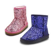 Baby Girls Boots rubber Kids winter Boots Sequin Children snow girls fur Ankle Snow boots warm Plush toddler Boys girls shoes