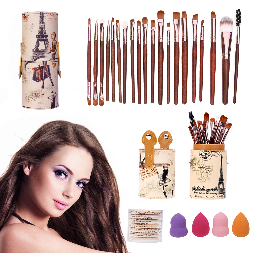 20pcs/Set Eye Shadow Foundation eyeliner Eyebrow Lip Brushes with Brush Barrel 7Pcs Sponge Puff Air Puff +4Pcs Spong Tool Kits