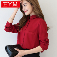Brand Women Blouse 2016 New Casual Women S Long Sleeved Solid Shirt Plus Size Blouses Ladies