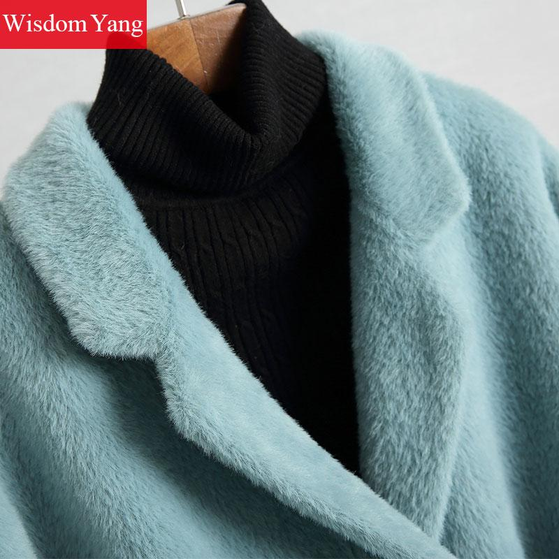 Survêtement Polaire Bureau Bleu Blue pink Poches Pardessus Hiver Coat Oversize Manteaux Trench Élégant Femmes Manteau Laine Coat Long Costume Chaud Dames Rose RI6wxnT