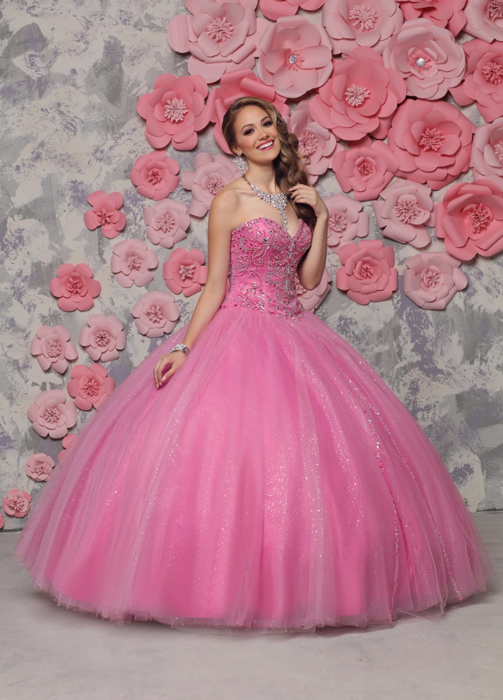 Hot Pink 2017 Ball Gown Prom Quinceaneara Dresses